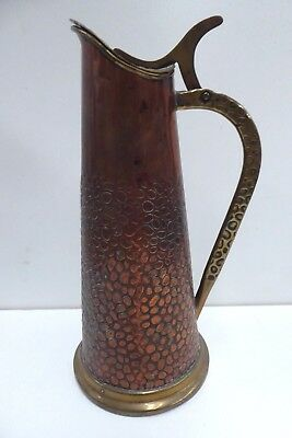 Antique Arts Crafts Art Nouveau Secessionist Copper Brass Pebble Pattern Jug Gbn