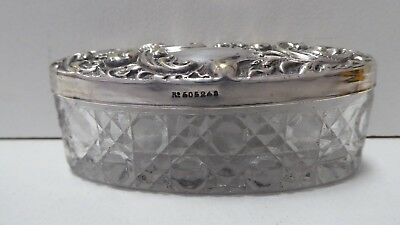 Antique Ep Silver Plate Embossed Rgd Stamp Lid Glass Dressing Table Dish Trinket