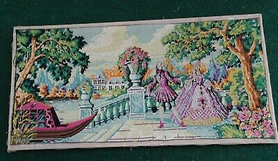 Antique French Style Victorian Needlepoint Needle Point Aubusson Wall Decor