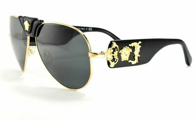 6a210d9f0 Versace Medusa 2150Q 1002/87 Black & Gold / Gray Lenses Aviator Sunglasses