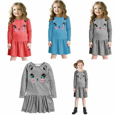 Kids Baby Girls Lovely Animal Printed Cat Party Pleated Long Sleeve Dress 2-7 Y