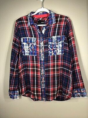 68efe0f2545e Hurley W omen Shirt Junior Red White and Plaid Long Sleeve Button Down  Flannel L