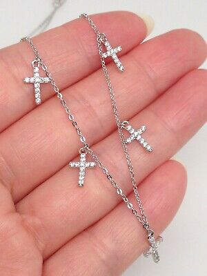 Sterling Silver 925 Cz Cross Pendant Necklace Dangle Cross Charm 8mm