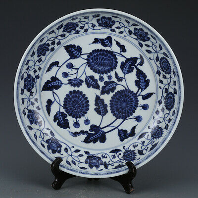 Nice Chinese Ming Xuan De Blue White Porcelain  Flowers Plants Plate