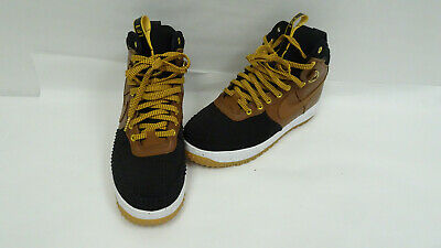 d3a368a2e3f1 NIKE LUNAR AIR Force One 1 Duckboot Tan Black 805899-004 Gold Gum Sz ...