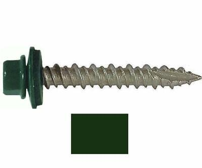 """250 Sheet Metal Roofing Screws: #10 Ivy Green/Forest Green 1-1/2"""" Hex Washer"""