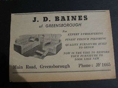 J. D. Baines Upholtering. Main Rd. Greensborough