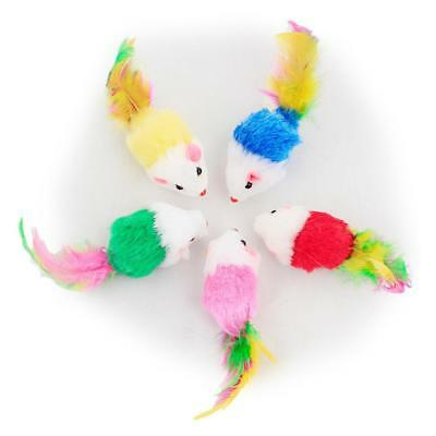 1pc Furry Plush Fur Kitten Cat Toy Mouse Feather Tail Rattle Pets ChasingNice