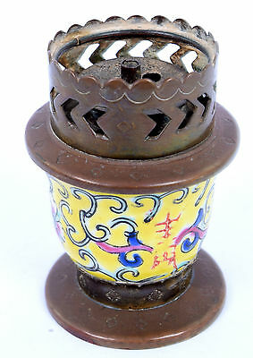 Antique Old Small Chinese Cloisonné Enamel Brass Lamp Rare collective. G68-27 AU