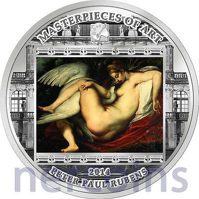 Cook Islands 2014 Leda and the Swan by Rubens $20 Pure Silver Proof Coin 3 Oz