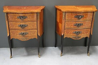 Rare pair antique French Louis marquetry bedside small chests of drawers ormolu