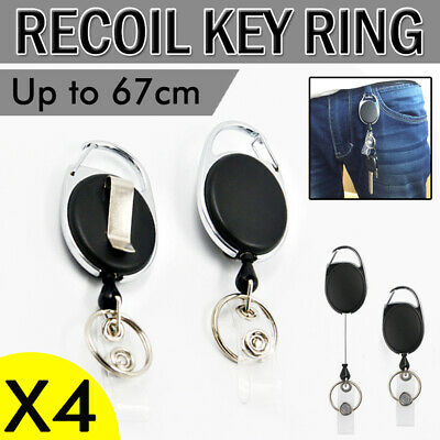4X Retractable Chain Pull Holder Extend Belt Recoil Key Ring Clip Reel Keyring