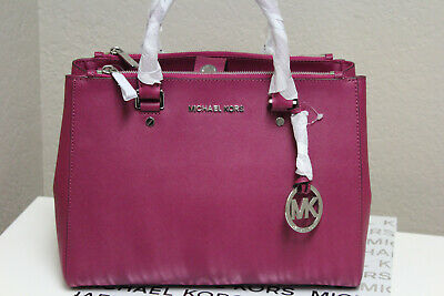 7e0f746c8bbc NWT Michael Kors Sutton Medium Saffiano Leather Satchel/Handbag Deep Pink