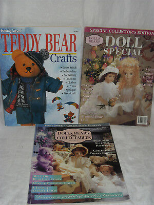 3 Bear & Doll Books / Magazines - Teddy Bear Crafts 2 Dolls Bears & Collectables