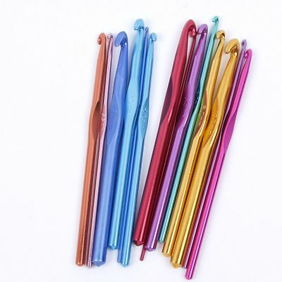 14pcs 2.0-10.0mm Multicolor Aluminum Crochet Hooks Needles Knit Weave Craft Yarn