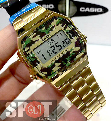 Casio Retro Camouflage Gold Tone Stainless Steel Watch A168WEGC-3