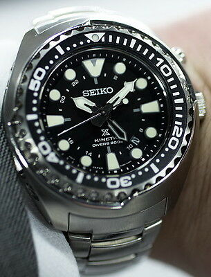 New Seiko Prospex Kinetic Gmt Stainless Steel Padi Diver S Men S