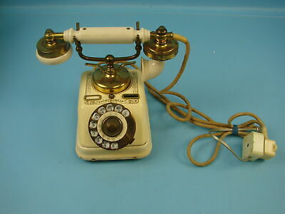 Danish Rotary Vintage Telephone Desk Phone French Victorian Style Beige & Gold