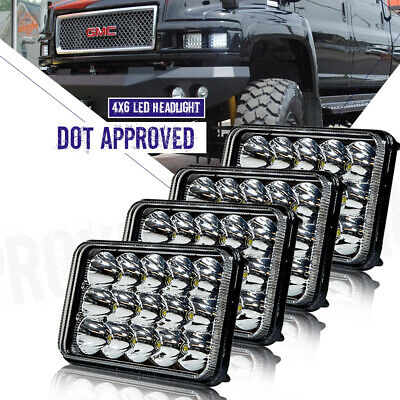 """6x4"""" inch DOT LED Headlights HID Replace For H4656/4651 High/Low Beam 45W-Qty 4"""