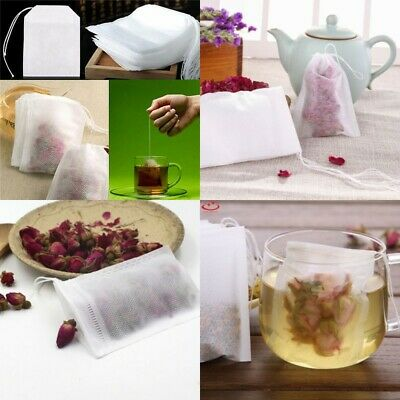 100pcs Loose Tea Bag Empty Teabags String Heat Seal Filter Paper Herb 4 Size