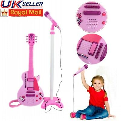 Kids 6 String Simulation Pink Play Guitar with Stand & Microphone Musical Toy UK