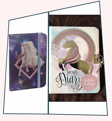 (2 x) Unicorn Lockable Secret Diary A5 & Cosmic Hardback Lined Notebook A6