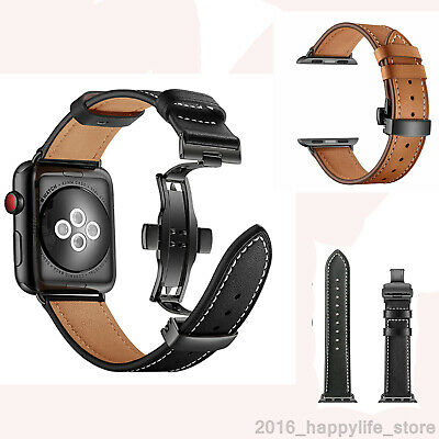 Genuine Leather Watchband for iWatch 4 3 Apple Watch Band Butterfly Clasp Strap