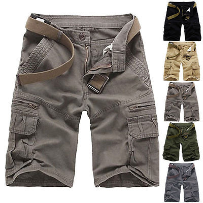 AU Summer Mens Sports Shorts Pants Casual Cargo Baggy Multi-Pocket Army Trousers
