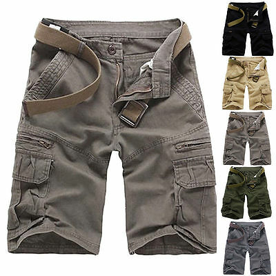 Summer Mens Sports Shorts Pants Casual Cargo Baggy Multi-Pocket Army Trousers