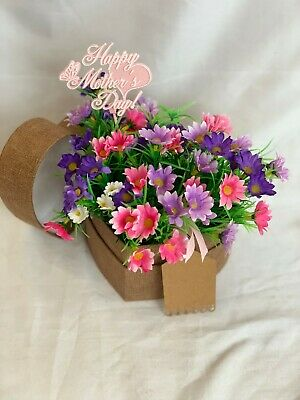 Mothers Day Artificial Silk Flower Hat Box Heart Shaped Gift Faux Daisies Mum