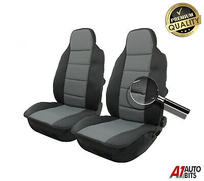 Pair Front Universal Padded Comfort Durable Premium Grey Fabric Car Seat Covers