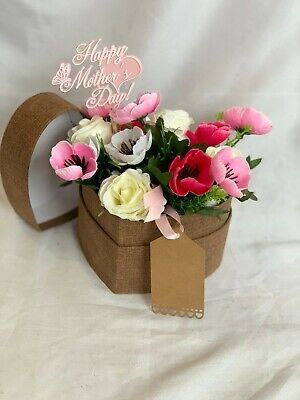 Mothers Day Artificial Silk Flower Hat Box Heart Shaped Gift Faux Anemone Rose