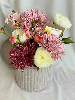 Mothers Day Artificial Silk Flower Hat Box Arrangement Gift Faux Peony Decor