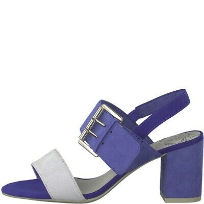 4984c6dcf9 Ladies Blue Grey Combi Mid Heel Suede Strappy Sandals Shoes Marco Tozzi  28323