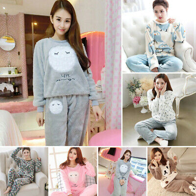 Pajamas set Sleepwear Thicken Flannel Soft Warm Outfits Winter Lounge Comfort