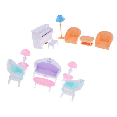 1:12 Doll House Miniature Living Room Plastic End Table Sofa Piano Set Kits