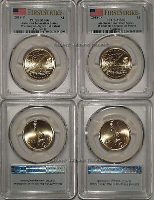 2018 P & D Innovation Dollar 1st Patent 2 Coin Set PCGS MS66 Pos B FIRST STRIKE