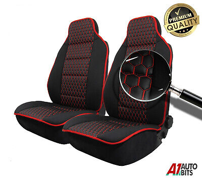 Set Front Red Stitch Luxury Leatherette Car Seat Covers For Vauxhall Corsa Astra