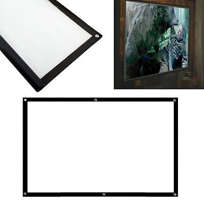 "100"" Inch Projector Projection Screen 16:9 White Matte 3D HD Home Cinema HD JN"