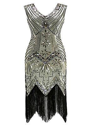 Women 1920's Vintage Style Print Sequin Sleeveless V Neck Flapper Party GFEQ 02