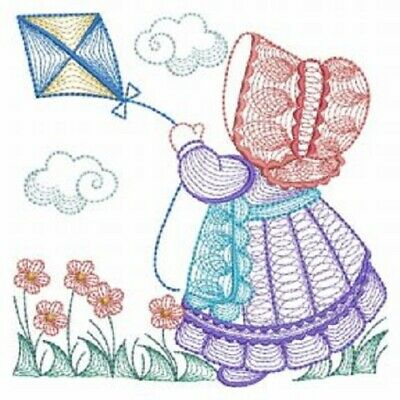 Busy Bonnets- -  Embroidered Quilt Blocks--Set 2