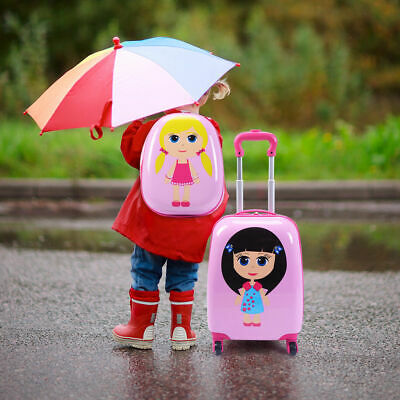 """2Pc 12"""" 16"""" Kids Girls Luggage Set Suitcase Backpack School Travel Trolley ABS"""