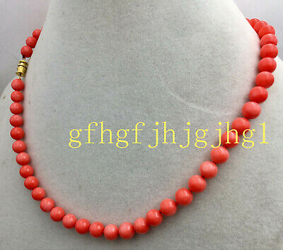"""AAA Natural 6MM Orange pink South Sea Coral Round Gem necklace 18 """""""