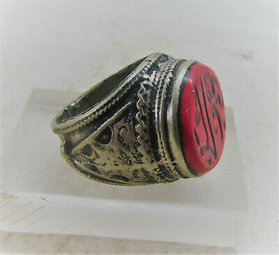 Lovely Antique Post Medieval Silvered Ring With Stone Insert Arabic Writing