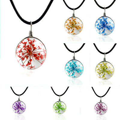 New Natural Real Dried Flower Round Glass Charms Pendant Necklace Lucky Gift
