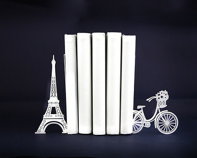 Atelier Article - Gift Steel bookends Paris Eiffel Tower Flower Bicycle (White)