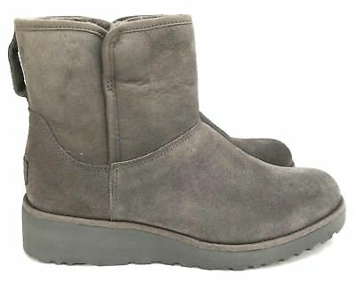 352b21a1559 UGG CLASSIC SLIM Collection Kristin Suede Gray Short Wedge Women's Boots