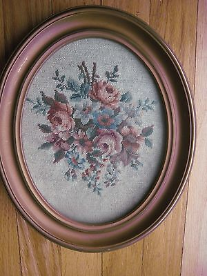 Vintage Framed Handcrafted Needlepoint - flowers