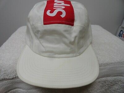 8d340127855 SUPREME OFF WHITE Top Stripe Camp Cap Box Logo Hat New FW16 ...