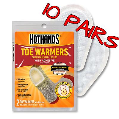 10 Pairs Of Hothands Toe Warmer With Adhesive Up To 8 Hours Of Heat Per Pair!